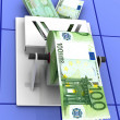 Euro in the toilet paper - Stock Photo