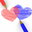 Pencils depicting the heart — Stock Photo