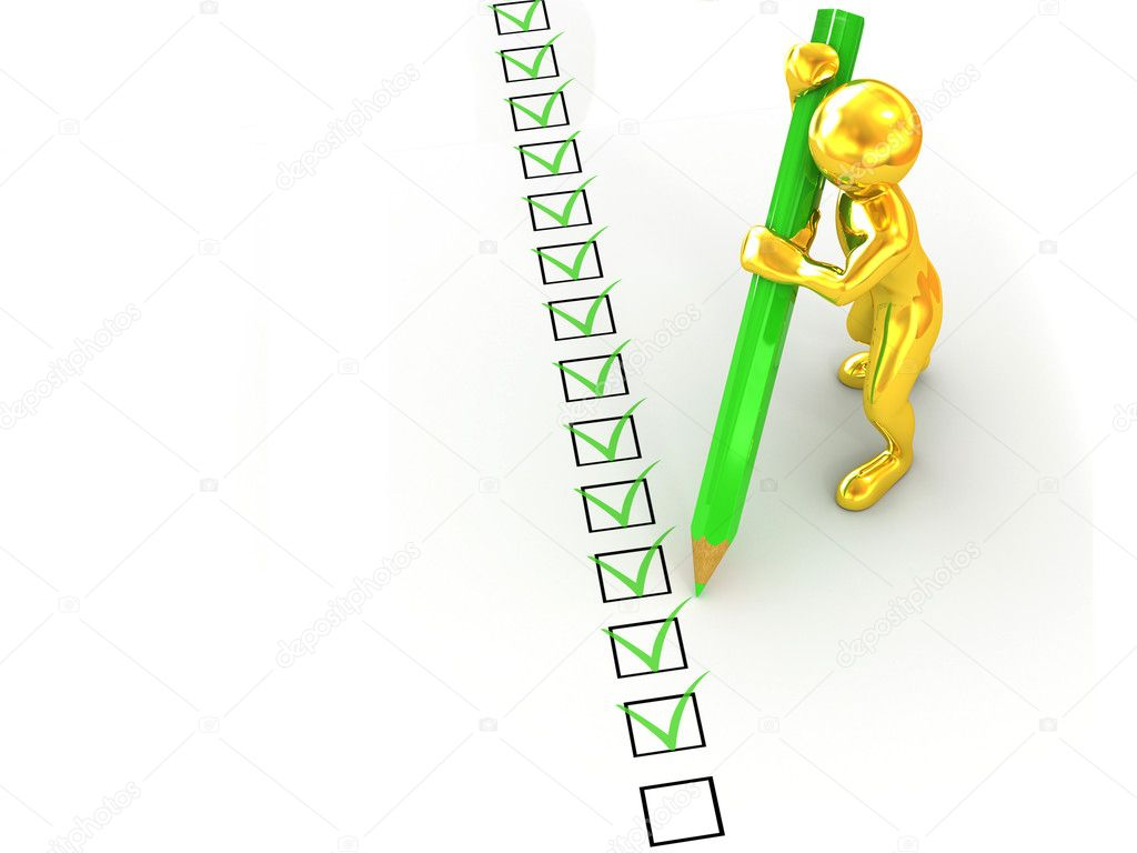 Men with pen on questionnaire. 3d  Stock Photo #1406658