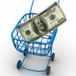 Stock Photo: Consumer basket with dollar