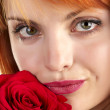 Stock Photo: Beautiful girl with rose