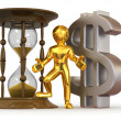 Man with hourglass and dollar - Stock Photo