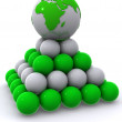 Earth on pyramid from spheres — Stock Photo
