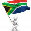 Men with flag. South Africa — Stock Photo