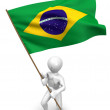 Men with flag. Brazil - Stock Photo