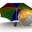 Royalty-Free Stock Photo: Earth with umbrella