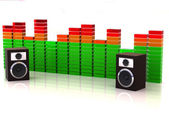 Loudspeakers with equalizer — Stock Photo