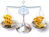 Balance of euro and dollar — Stock Photo