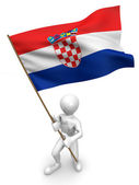 Men with flag. Croatia — Stock Photo