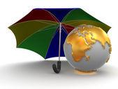Erde mit regenschirm — Stockfoto