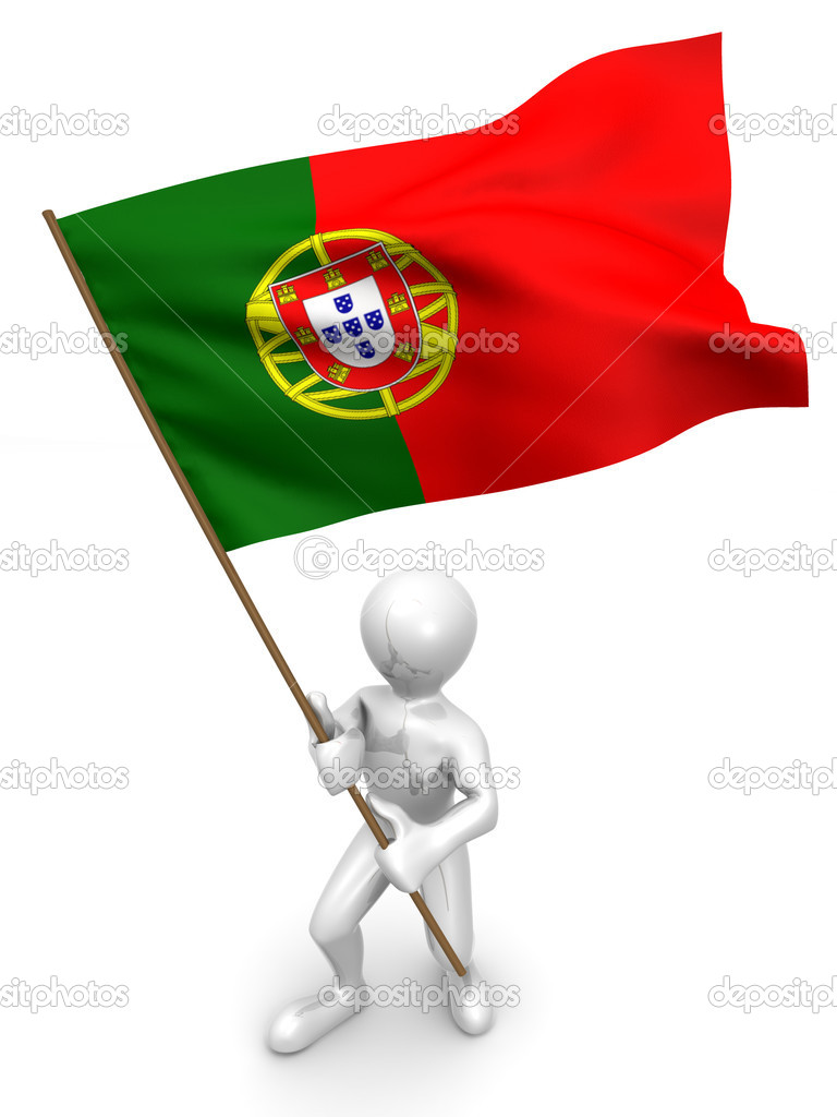Men with flag. Portugal. 3d — Stock Photo #1412839