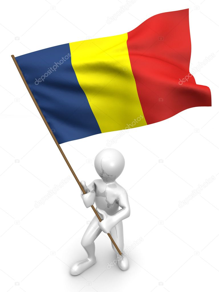 Men with flag. Romania. 3d — Stock Photo #1412872