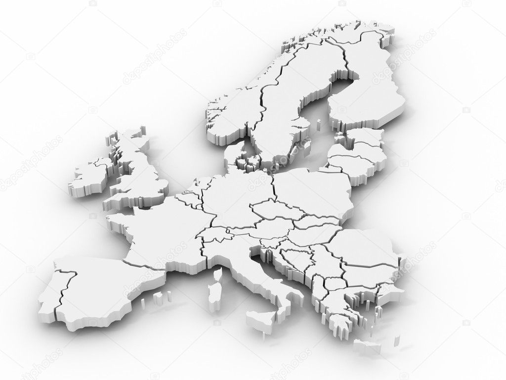 Map of europe. 3d  Lizenzfreies Foto #1412994