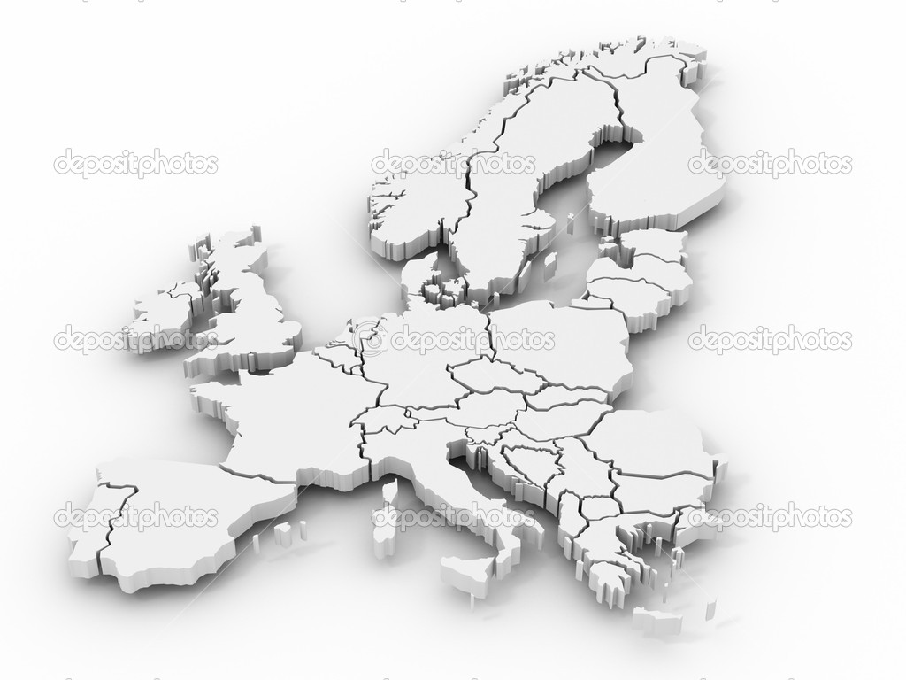 Map of europe. 3d  Stock Photo #1412994