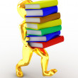 Men with books. 3d — Stock Photo