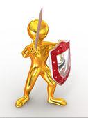 Hombres con escudo y espada — Foto de Stock