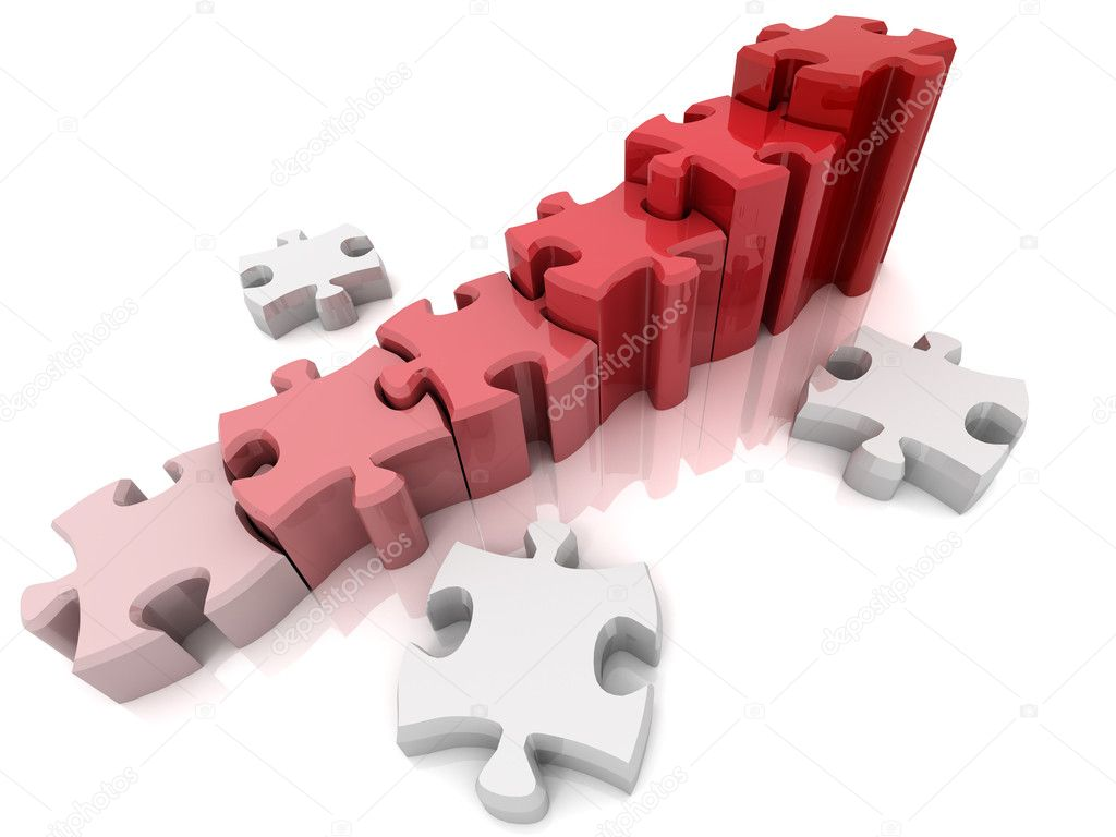 Graph from puzzle. 3d  Stock Photo #2395745