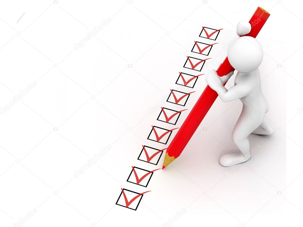 Men with pen on questionnaire. 3d — Stock Photo #2396713