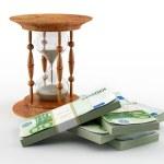 Hourglass with euro — Stock Photo
