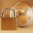 Earth with padlock — Foto de Stock