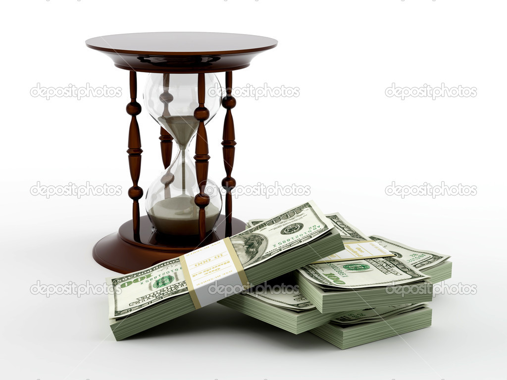 Hourglass and money. 3d — Stock Photo #2400495