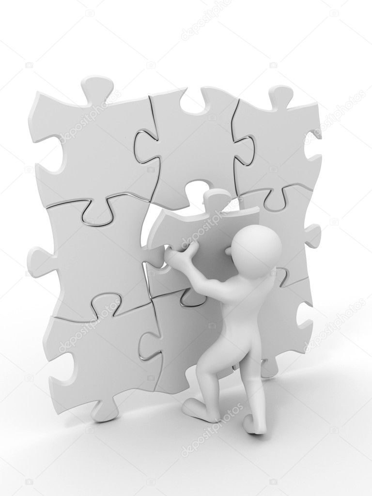 Men with puzzle. 3d — Stock Photo #2400545
