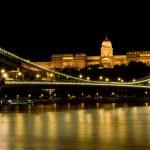 Night view Buda Castle and Chain Bridge — Stock Photo #1388412