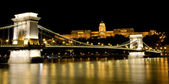Night view Buda Castle and Chain Bridge — Stock Photo