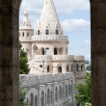 Budapest castle towers through window — Stock Photo