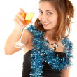 Woman with a glass of champagne — Stock Photo