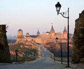 Starý hrad s věžemi za svítání — Stock fotografie