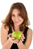 Beauty woman with fresh green apple — Stock Photo
