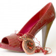 Red shoe with high heel and necklace — Stock Photo #1464883