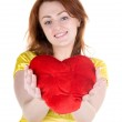 Young woman with valentine — Stock Photo