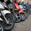 Line of different motocycles — Stock Photo