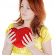 Young woman with valentine's — Stock Photo