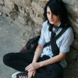 Sitting emo — Stock Photo