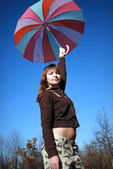 Girl wih umbrella — Stock Photo
