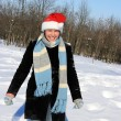 Happy woman in the snow forest — Stock Photo #1810495