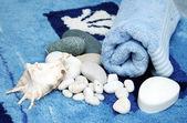 Bathroom scene with water stones — Stock Photo
