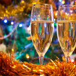 Two christmas champagne glasses — 图库照片
