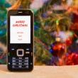 Mobile phone on Christmas background. la — Stock Photo