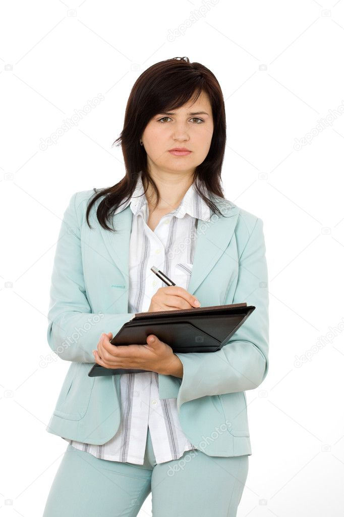 Young business woman with a map case — Stock Photo #1431591