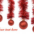 Red Christmas balls on white background. - Stock Photo
