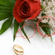 Wedding rings and rose — Stock Photo #1464753