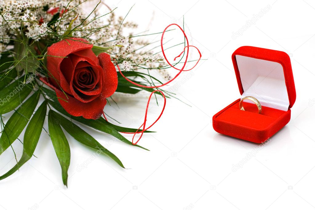 Wedding rings and rose  Stock Photo #1464757