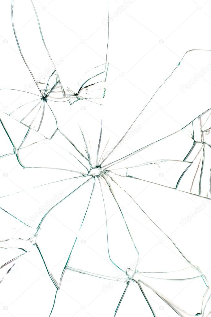 Broken glass with black cracks on white background — Stock Photo #1758954