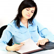 Businesswoman writing. — Stock Photo