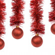Red Christmas balls on white background. — Stock Photo