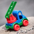 A plastic colored toy car — Stock Photo